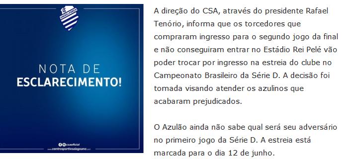 CSA emite sobre torcedores com ingresso que não entraram no estádio (Foto: Reprodução site oficial do CSA)