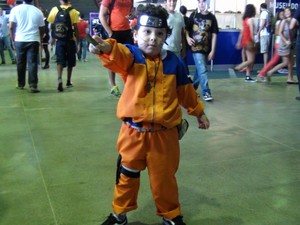 Criança cosplay no Gamepólitan, em Salvador (Foto: Ruan Melo/G1)