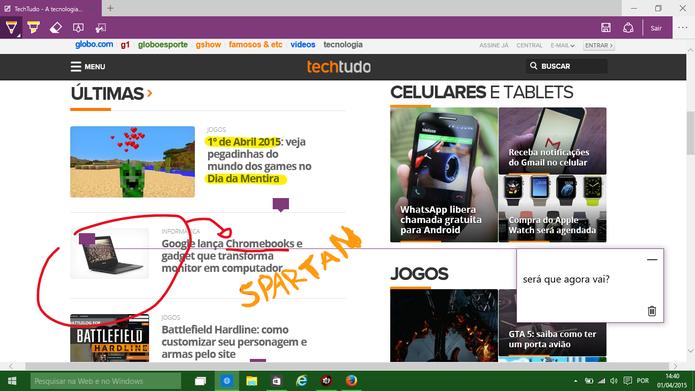 Spartan pode fazer anotações na Internet e inserir comentários em caixas de textos (Foto: Reprodução/Elson de Souza)