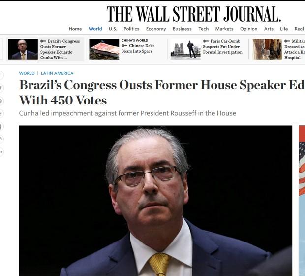 Wall Street Journal destacou que a Câmara cassou o mandato de seu ex-presidente Eduardo Cunha com 450 votos contra 10 (Foto: Reprodução/Wall Street Journal)