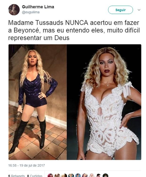 Estátua de cera de Beyoncé branca gerou polêmica e piadas (Foto: Reprodução/Twitter)