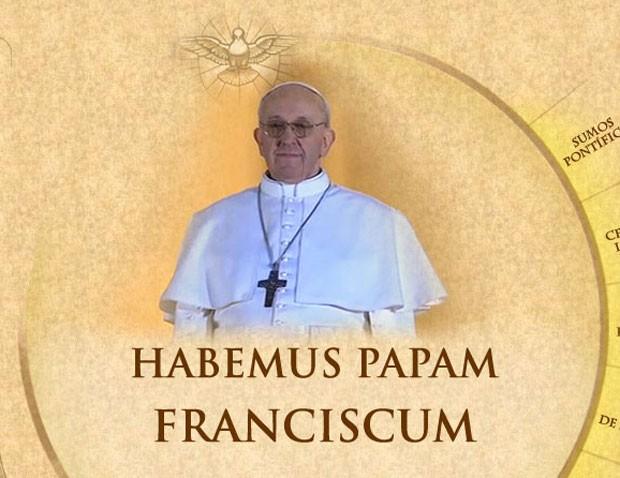Imagem publicada no site do Vaticano anuncia o argentino Jorge Mario Bergoglio como novo papa (Foto: Reprodução)