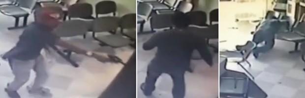 Após trocar tiros com os assaltantes, PM baleado caminha a passos lentos e, cambaleando, cai sobre uma das cadeiras (Foto: Divulgação/Sesed)