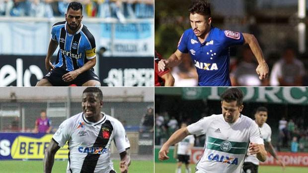futebol (Foto: Lucas Uebel/Divulgação Grêmio/Edson Ruiz / Light Press / Cruzeiro/Carlos Gregório Jr/Vasco.com.br/Divulgação Coritiba)