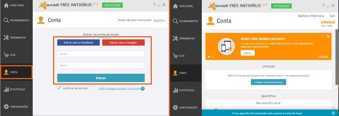 Faça o login e acesse sua conta do Avast (Foto: Reprodução/Barbara Mannara)