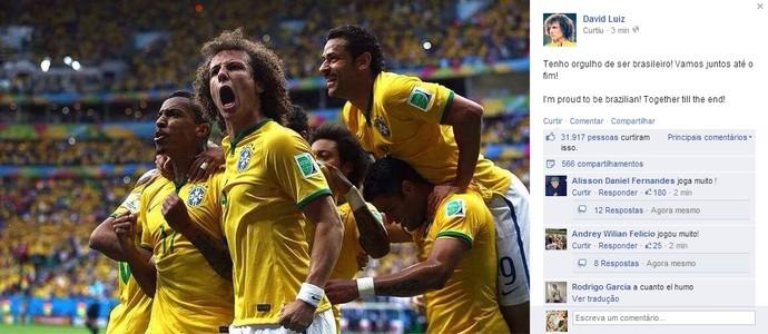 David Luiz comemora vaga nas oitavas de final (Foto: Reprodução / Facebook)