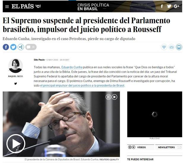Espanhol 'El País' publicou matéria sobre o afastamento de Eduardo Cunha (Foto: Reprodução/El País)