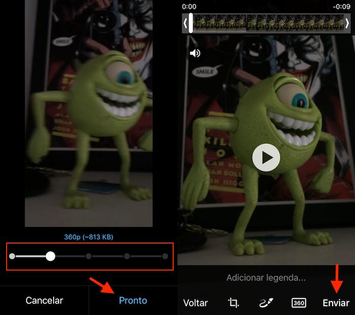 Opção para alterar a resolução de um vídeo no Telegram (Foto: Reprodução/Marvin Costa)