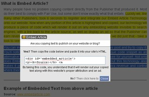 Interface Embed Article