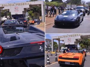 Carros de luxo apreendidos chegaram escoltados à Polícia Federal, em Brasília. A PF deflagrou a operação Miqueias, que cumpre mandados de prisão e busca e apreensão em 9 UFs para desarticular ação de lavagem de dinheiro e má gestão de recursos públicos. (Foto: Elza Fiúza/ABr)