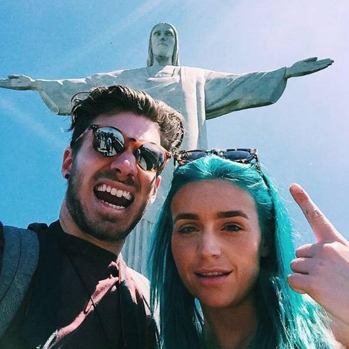 Amy Shappard e Jay Bovino no visitaram o Cristo Redentor  (Foto: Arquivo Pessoal)