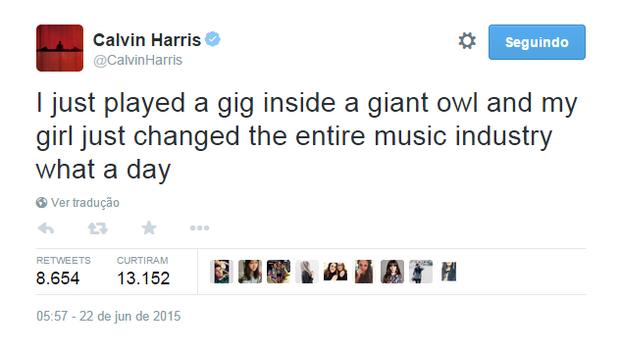 Calvin Harris no Twitter (Foto: Reprodução)