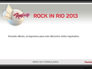 Imagem mostra mensagem sobre ingressos esgotados do Rock in Rio (Foto: Reprodução)
