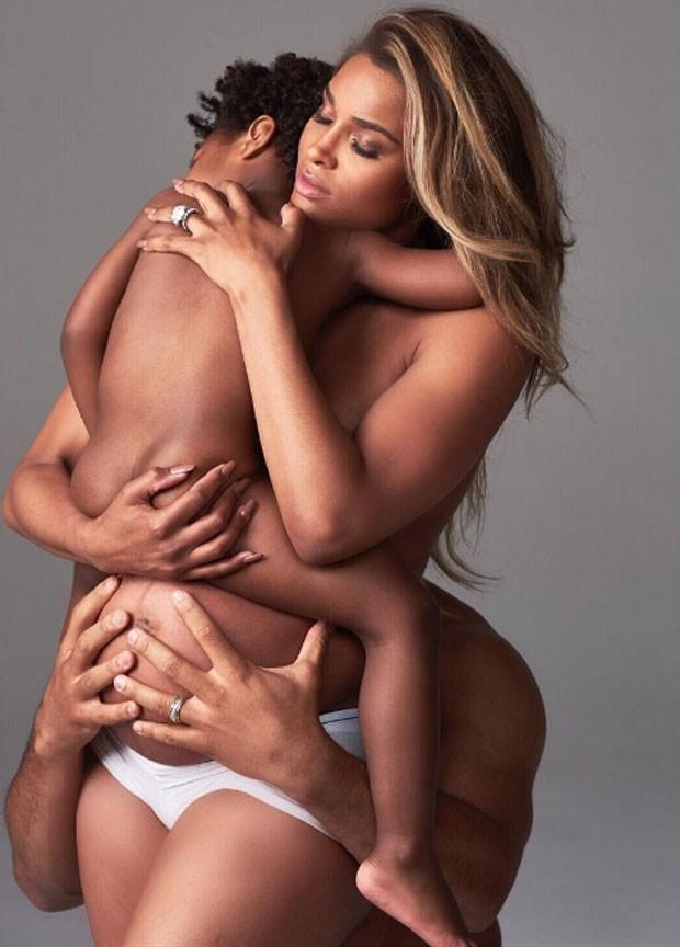 Ciara com filho e marido (Foto: Reprodução/Bazaar)