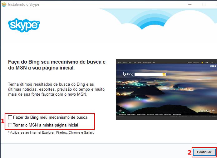 Desativando/ativando as opções do Bing no instalador (Foto: Reprodução/Edivaldo Brito)