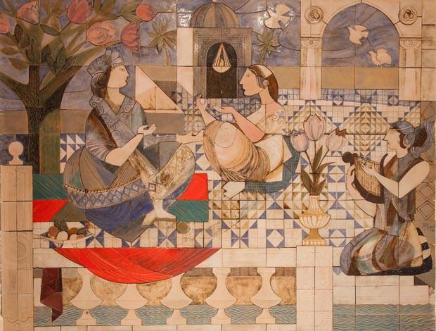Detalhe de painel decorativo de ladrilhos nos interiores do Byblos (Foto: Divulgação)
