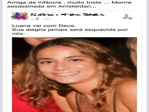 A morte de Luana Xavier foi comentada por diversos amigos nas redes sociais (Foto: Reprodução/Facebook)