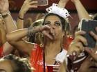 Thalita Rebouças chora durante desfile da Portela