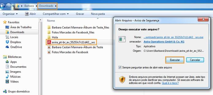 Execute o arquivo baixado do Avira no PC (Foto: Reprodução/Barbara Mannara)