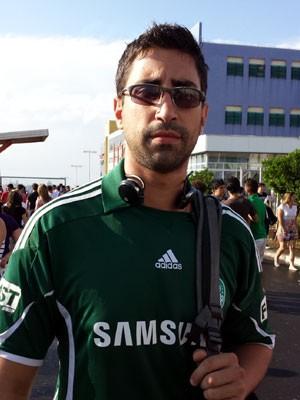 O torcedor do Palmeiras Felipe Franco, tem 26 anos, fez Enem para entrar em faculdade de educação física (Foto: Fernando Pacífico / G1)