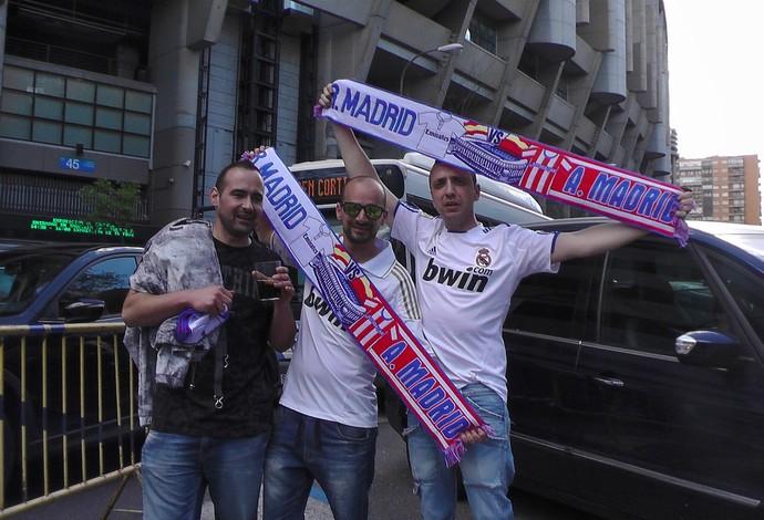 Torcedores Real Madrid antes de clássico contra Atlético (Foto: Claudia Garcia/GloboEsporte.com)