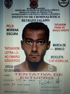 Divulgado retrato falado de suspeito de tentativa de estupro em São Luís (Foto: Divulgação / SSPMA)
