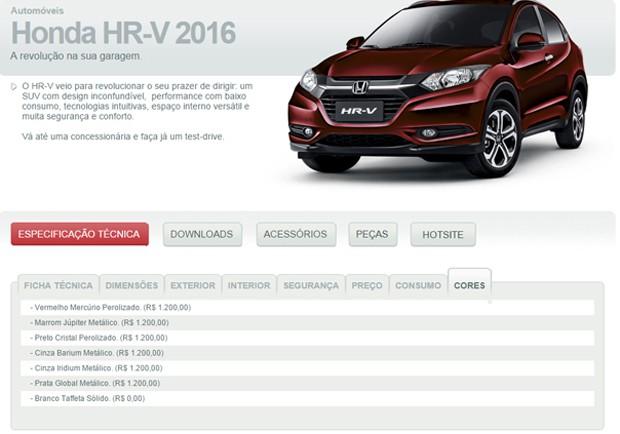 Opções de cores para o Honda HR-V (Foto: Reprodução)