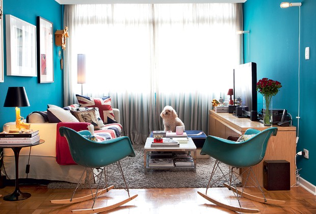 Sala azul tudo azul casa e jardim sala de estar for Paredes azul turquesa