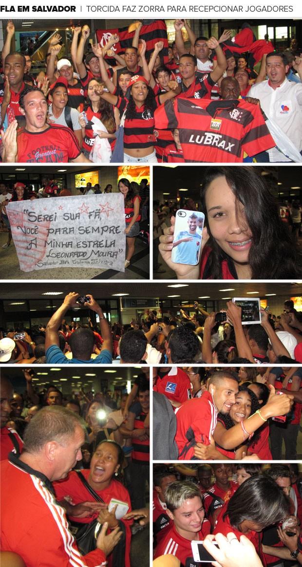 Mosaico Flamengo desembarque Salvador (Foto: Richard Souza)