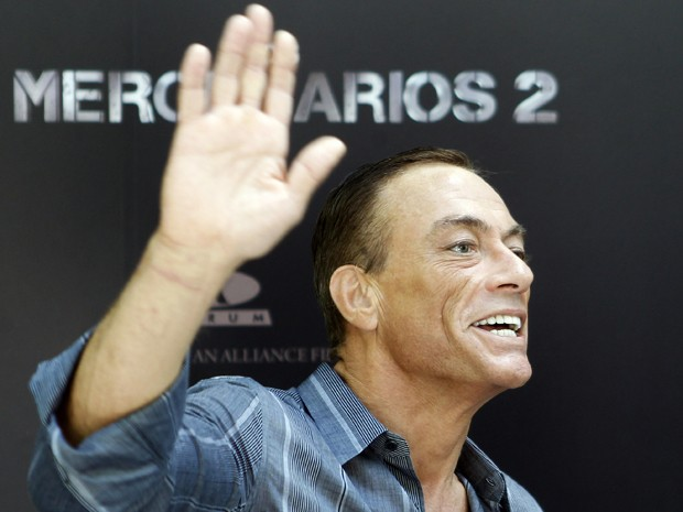 Jean-Claude Van Damme lan&#231;a 'Os mercen&#225;rios 2'  em hotel em Madrid, na Espanha (Foto: AP/Andres Kudacki)