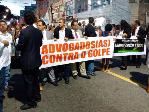 Manifestantes em ato pró-governo em Salvador, Bahia (Foto: Maiana Belo/ G1)