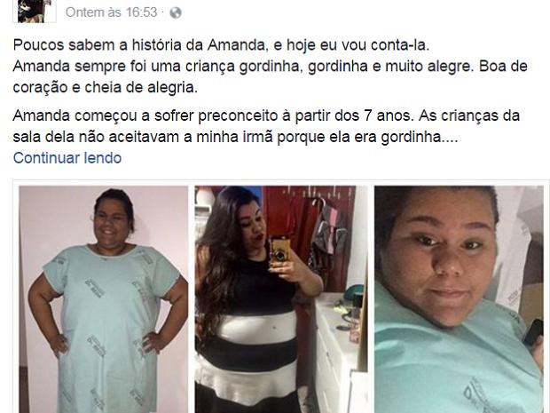 Irmã postou um relato emocionante sobre a história de Amanda (Foto: Reprodução/ Facebook)