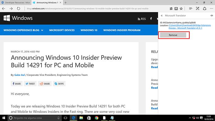 Usuário pode excluir extensão do Microsoft Edge caso não queria usá-la (Foto: Reprodução/Elson de Souza)