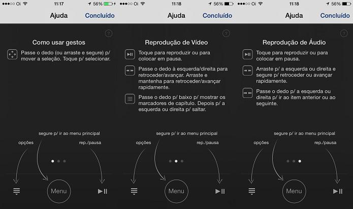 Visualizando a ajuda do app Remote (Foto: Reprodução/Edivaldo Brito)