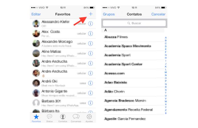 Buscando contatos para inserir na lista de favoritos do WhatsApp (Foto: Reprodução/Marvin Costa)