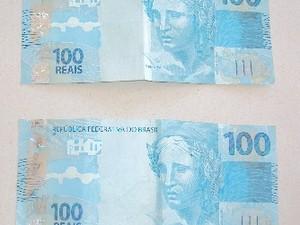 """Homem tentou """"comprar"""" os militares com duas notas de R$ 100 (Foto: Polícia Militar/Divulgação)"""