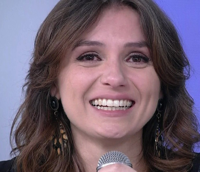 Monica Iozzi se emociona com palavras de carinho (Foto: Vídeo Show / Gshow)