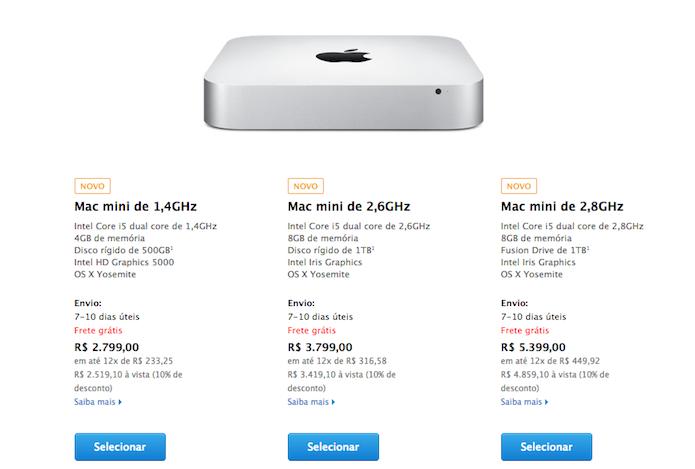 O Mac mini 2014 já está à venda no Brasil com o preço inicial de R$ 2.799 (Reprodução/Apple)