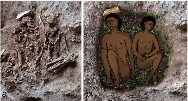 a) Fotografia que mostra um esqueleto adulto, na esquerda e um esqueleto adolescente, na direita durante a escavação. b) Esta é uma reconstrução do duplo enterro (Foto: E. Gerstein. Imagem digital preparada por A. Regev.)