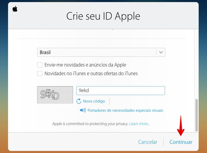 Finalizando cadastro da Apple ID (Foto: Reprodução/Helito Bijora)