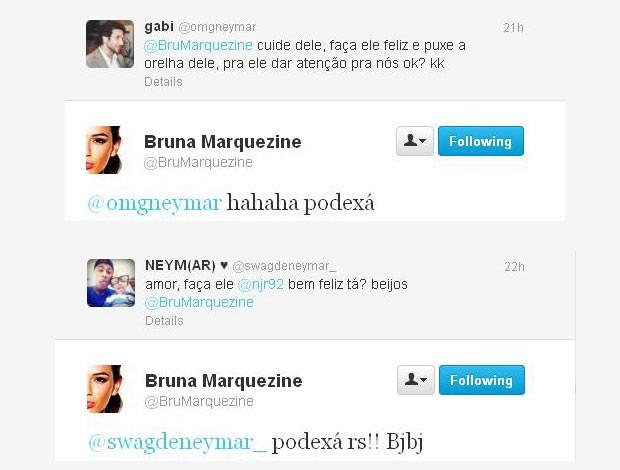 Fãs de Neymar pedem para Bruna cuidar do craque (Foto: Reprodução/Twitter)