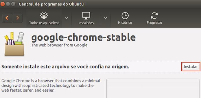 Iniciando a instalação do Google Chrome no Ubuntu (Foto: Reprodução/Edivaldo Brito) (Foto: Iniciando a instalação do Google Chrome no Ubuntu (Foto: Reprodução/Edivaldo Brito))