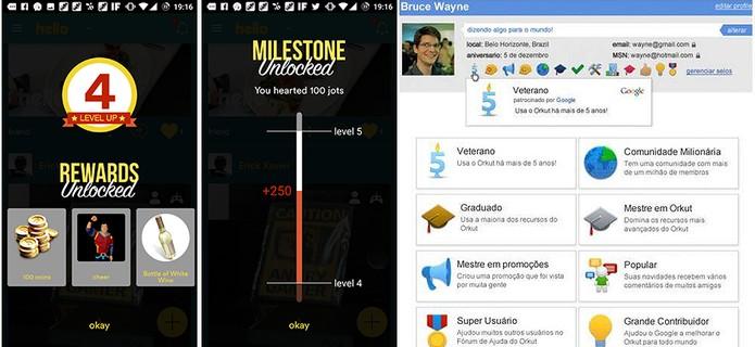 Hello (à esquerda) tem de conquistas similares ao selo do Orkut (Foto: Reprodução/Elson de Souza)