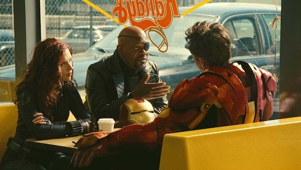 A atriz Scarlett Johanson e o ator Samuel L. Jackson como Viúva Negra e Nick Fury (Foto: Reprodução)
