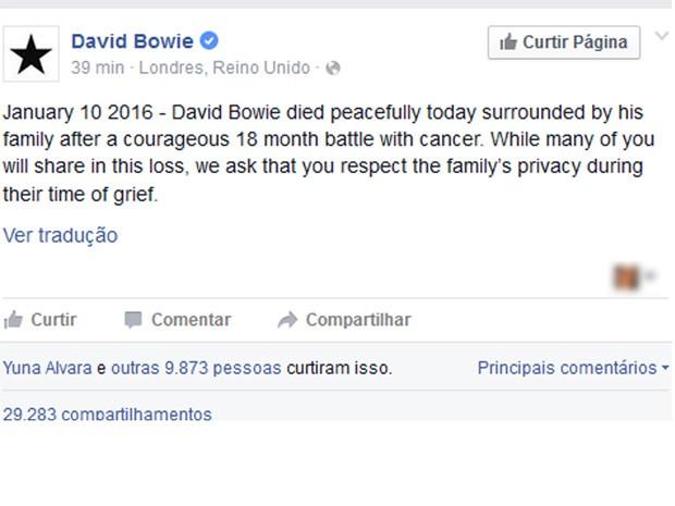 Comunicado anuncia morte de David Bowie (Foto: Reprodução/Facebook)