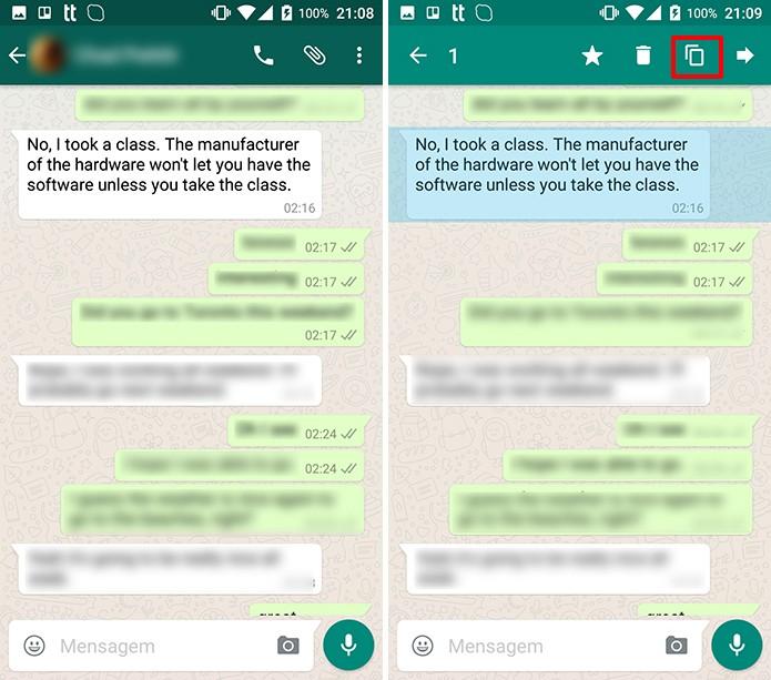 Usuário precisa selecionar mensagem e copiar para fazer tradução (Foto: Reprodução/Elson de Souza)