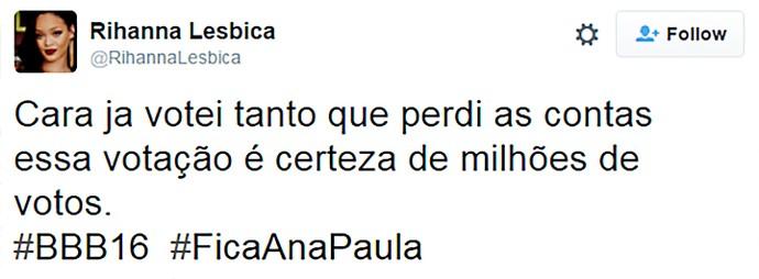 Internauta apoia Ana Paula (Foto: Reprodução Internet )
