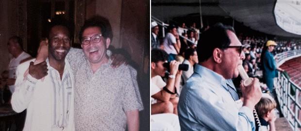 Insights;Carreira;Cultura;Futebol;José Silvério;Alô... Gol Com Pelé, nos EUA, e irradiando por telefone, em San Diego, às vesperas da  Copa de 94. O estádio não tinha estrutura para transmissões profissionais (Foto: Reprodução)