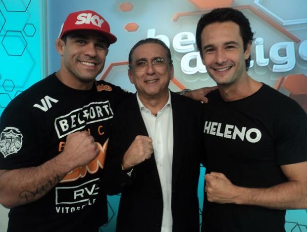 Vitor Belfort, Rodrigo Santoro e Galvão Bueno após o programa (Foto: Wagner Bordin/SporTV.com)