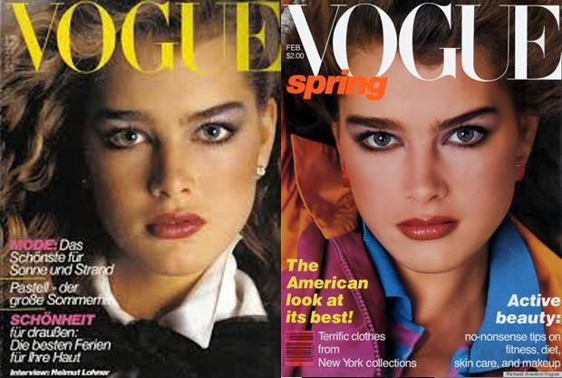 Brooke Shields posa para a capa de duas Vogues. (Foto: Divulgação)